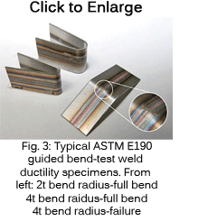Fig 3: MSS ASTM E190 guided bend-test weld ductility specimens